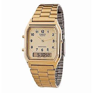 Relógio Casio Vintage Digital Analógico - AQ-230GA-9BMQ -Dourado (Gold 02ba3a7e40