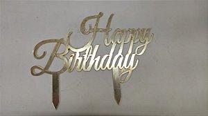 ACRÍLICO DOURADO TOPO DE BOLO HAPPY BIRTHDAY 20X15,5