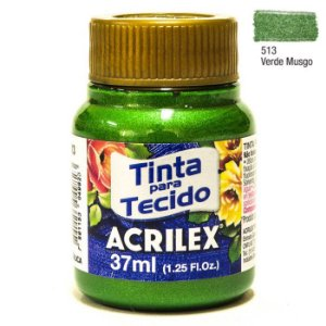 TINTA PARA TECIDO METALICA 37ML VERDE MUSGO ACRILEX