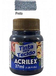 TINTA PARA TECIDO METALICA 37ML PRETO ACRILEX