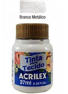 TINTA PARA TECIDO METALICA 37ML BRANCO METALICO ACRILEX