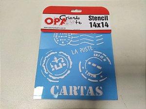 STENCIL 14X14 - CARTAS