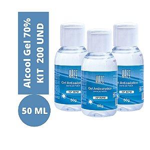 Alcool Gel 70% INPM 50ml 200und Bactericida Antisséptico