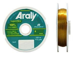 Linha Araty Superflex Ouro Monofilamento 0,60mm 120m Caixa c/ 10 Unidades - Mazzaferro
