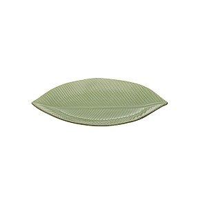Prato Cerâmica Banana Leaf Verde 26,5x15x2cm