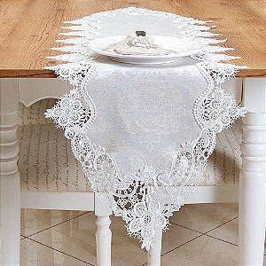 Caminho de Mesa Bordado em sofisticado polilinho 40x180cm Coleção L'essence Damasco Branco