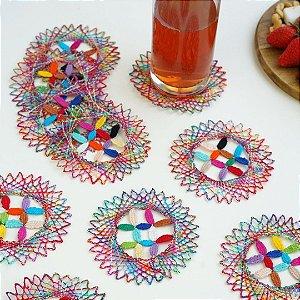 Conjunto Porta Copos Renda Bilros Mix Color