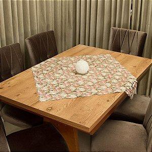 Toalha de Chá Quadrada Luxo Floral