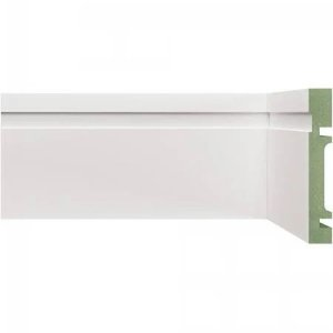Rodapé e Guarnição Branco em MDF 15cm ULTRA com friso moderno - preço por barra com 2,40 metros lineares * com vão para passar fio