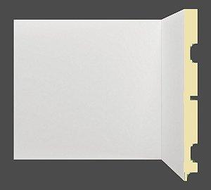 Rodapé e Guarnição Branco em MDF 20cm sem friso moderno - preço por barra com 2,40 metros lineares * com vão para passar fio