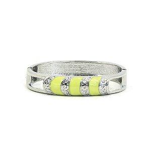 Pulseira Bracelete Prateado e Verde