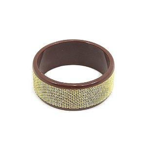 Pulseira Bracelete Marrom e Dourado