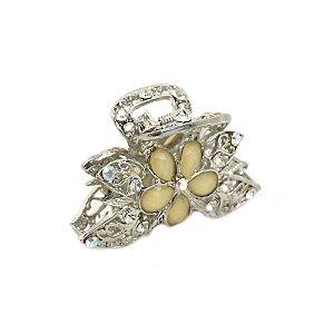Piranha Metal Prateado com flor Off White