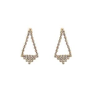 Brinco Dourado Triangular Folheado a Ouro 18k