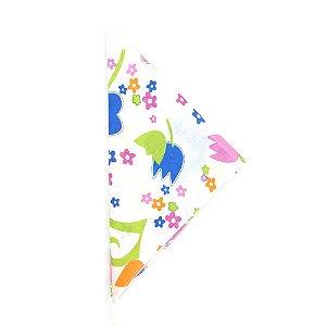 Lenço Branco Quadrado com Flores Coloridas