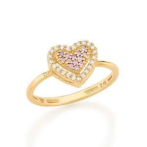 Anel Dourado Coração com Zircônias Lilás Rommanel