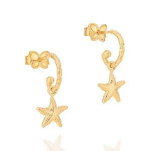 Brinco Dourado Meia Argola com Estrela do Mar Rommanel
