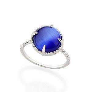 Anel em Rhodium com Pedra Olho de Gato Azul Rommanel