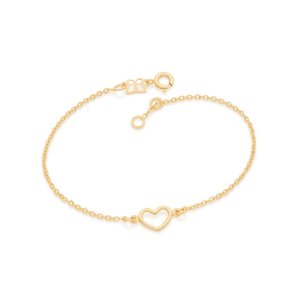 Pulseira Dourada com Coração Vazado Rommanel