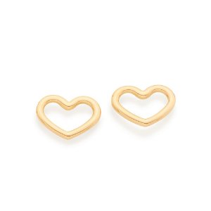 Brinco Dourado Coração Vazado Rommanel