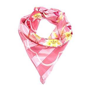 Lenço Quadrado Rosa com Flores