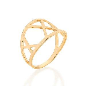 Anel Dourado Geométrico Rommanel