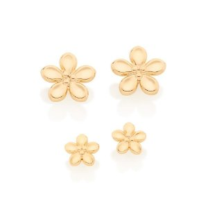 Kit de Brincos Dourados no Formato de Flores Rommanel