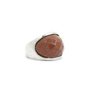 Anel Com Pedra Facetada Marrom e Brilho