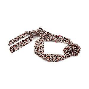 Headband Turbante Animal Print Vermelho com Flor