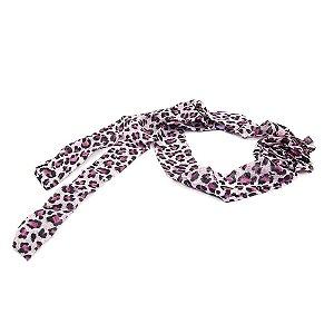Headband Turbante Animal Print Rosa com Flor