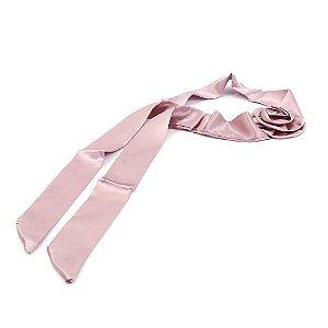 Headband Turbante de Cetim Rosa com Flor