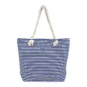 Bolsa de Praia em Lona com Listras Azuis