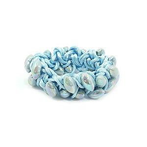 Scrunchie Azul Entrelaçado com Navetes