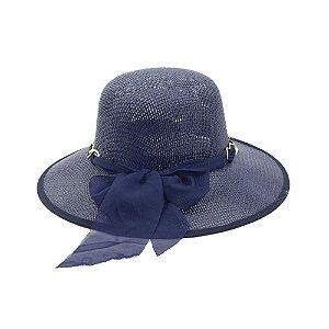 Chapéu Azul Marinho Com Corrente e Laço
