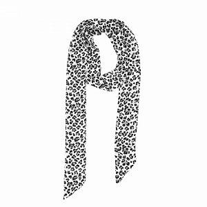 Lenço Faixa Animal Print Preto e Branco