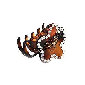 Piranha Marrom Flor com Pedrinhas