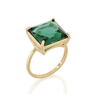Anel Solitário Cristal Verde Rommanel