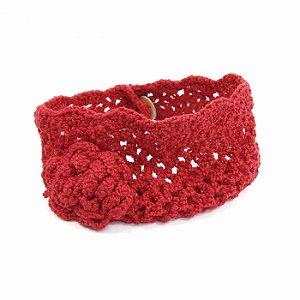 Turbante Vermelho em Crochê com Flor