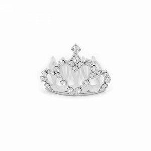 Mini Coroa Coração de Strass Prateada Princess