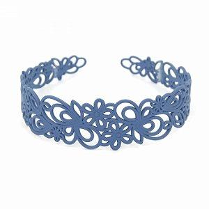 Tiara Acrílica Floral Azul