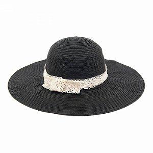 Chapéu de Praia Preto com Renda