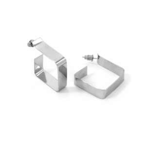 Brinco de Argola Prateada Geométrica em Aço Inox