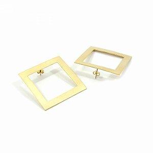 Maxi Brinco Argola Quadrada Dourada