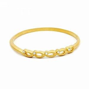 Pulseira Bracelete Dourada com Strass