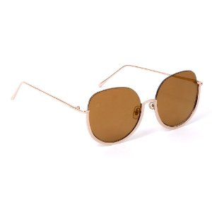 Óculos de Sol Grande Glamour Espelhado Dourado