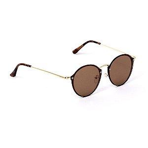 Óculos de Sol Classic Redondo Marrom e Dourado