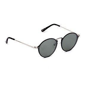 Óculos de Sol Classic Redondo Espelhado e Prateado