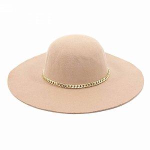 Chapéu de Feltro Caramelo com Corrente Dourada