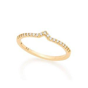Anel Skinny Ring Com Detalhe Em V E Zircônias Brancas Rommanel
