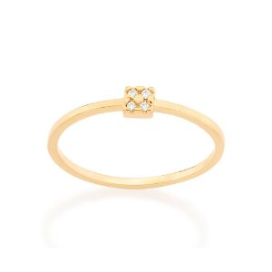 Anel Skinny Ring Quadrado Zircônias Rommanel